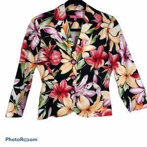 Floral Black/Pink/Green/White Tailored Jacket